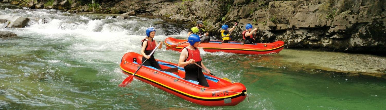 Mini-rafting challenge in Savinja River