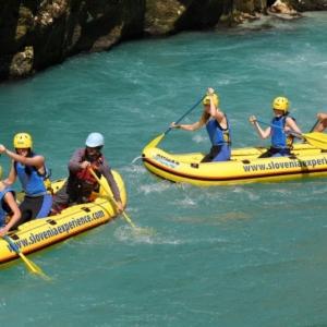 Easy mini-rafting on Soča River Kamno-Tolmin